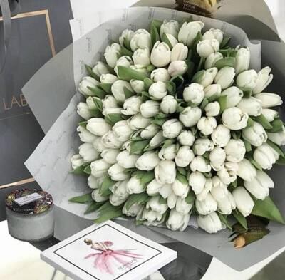 Букет «Тюльпаны», 149 шт, белые